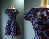 1950s Dress / Vintage 1950s Blue Cocktail Dress / Velvet Flowers