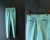 50s Pants / 1950s Peddle Pusher Pants / Sea Green