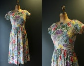 40s Dress / 1940s Dress / Summer Floral Dress