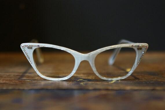 Cat Eye Glasses / White Rhinestone Frames  / Rockabilly