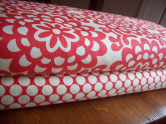 Amy Butler Fabric - Wall Flower and Full Moon Polka Dot in Cherry - Half Yard of Each