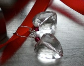 Heart Earrings, Crystal Clear, Vintage, Faceted Lucite, Swarovski Crystals, Puff Hearts, Sterling Silver, Gift of Love.