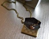 Envelope Locket Necklace, Heart on a Chain Inside, A Love Letter, Keepsake, Promise, I Love You Gift, Antiqued Brass,