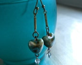 Fire Glazed Bead Earrings, Hearts, Dangles,Vintage Findings, Crystals, Antiqued, Brass, Mottled Tourquoise.