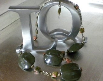 Earthly Delights Necklace, Vintage Lucite, Turtle Back Beads, Jasper pillow squares, Antiqued Brass .