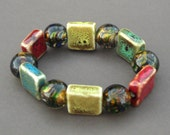 Stretch into these Stones - Stone and Glass Stretch Bracelet - Vibrant Bold Colors - Mood Enhancing