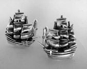 Sterling Silver Sailing Ship Cufflinks