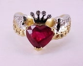 18ct Two Tone Gold, Ruby and Diamond Ring