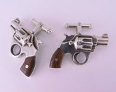 Sterling Silver Revolver Cufflinks with Wooden Handles
