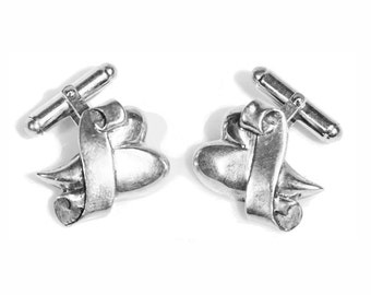 Sterling Silver Heart with Banner Cufflinks