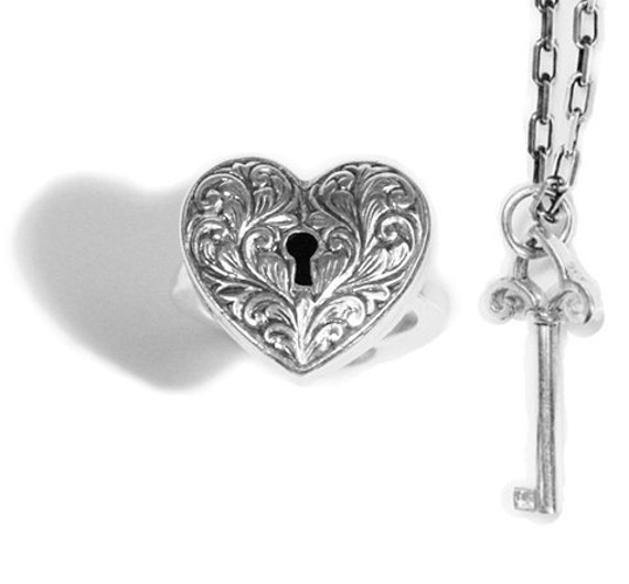 Locking Heart Ring With Seperate Key In By Metalcouturebridal