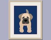 Bullmastiff dog nursery art. Mastiff dog print nursery print. Puppy modern for baby & kids room decor theme. Dog art by WallFry