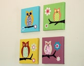 Owl art for children paintings for baby nursery decor. 4 owls pictures on canvas (not prints) for girls room.