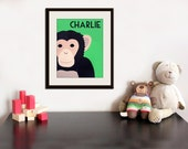 Personalized Monkey Print for nursery art. Personalized safari artwork, jungle art, child zoo decor animal for kids rooms in brown and green