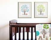 Alphabet print, numbers print woodland owl art print, Baby nursery wall art. ABC nursery decor. Childrens art by WallFry. SET OF 2 prints