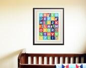ABC wall art, animal alphabet print, children art. Safari art for nursery. Jungle ABC nursery decor. Childrens ABC print by WallFry