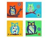Owl prints colorful baby nursery wall art for children. 4 - 8x8 bright owl nursery art prints for kids wall art owl nursery art by WallFry