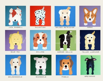 Puppy Dog nursery art for kids. Baby nursery decor childrens prints. Dog prints. Kids art. Dog lover Childrens art by WallFry