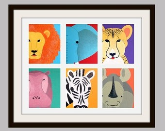 Safari Series Nursery Print for baby & child. Jungle African animal print for kids room  and playroom decor from zoo paintings.