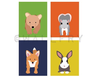 Woodland animals prints for baby. Forest critters child nursery art. SET OF ANY 4 woodland prints in citrus colors kids room. Fox, Bear
