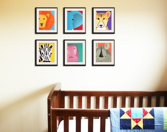 Jungle nursery décor. Jungle themed nursery. SET OF ANY 6 Safari animal nursery prints for children, kids decor, Jungle nursery ideas