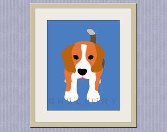 Beagle print. Dog nursery artwork for baby & kids room decor. Custom colors, blue and orange, Dog art, dog print by WallFry