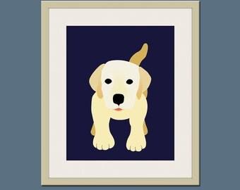 Labrador dog print. Puppy modern nursery artwork for baby & kids room and playroom decor theme. Dog theme art by WallFry