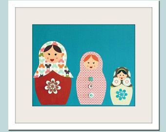 Nursery art print Matryoshka Dolls . 8x10 Babushka, Russian Dolls in turquoise and teal. Child artwork, kids wall art rooms & playroom