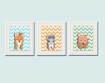 Woodland nursery art. 3 chevron prints forest friends critters . Fox, bear cub, owl, rabbit or squirrel pictures SET of 3 prints by WallFry