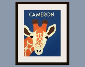 Personalized children art Giraffe Print baby nursery art. Safari artwork, jungle art, animal print by WallFry