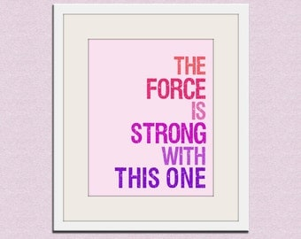 Star Wars typography art print baby nursery art print. Art for kids, children art, nursery wall art, The Force is Strong Wallfry print