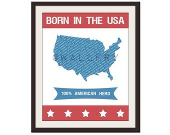 Children art print. USA map patriotic nursery art. Baby nursery print. Custom baby name print. USA map print by WallFry