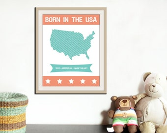 Children art print. Kids art. Baby nursery decor. United States map print. Personalized custom baby name print.  Kids print by WallFry