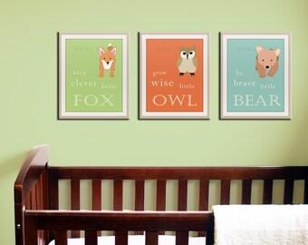Baby nursery art prints. Inspiration typography prints. Woodland nursery decor. Owl Nursery wall art. SET OF ANY 3 prints artwork by WallFry