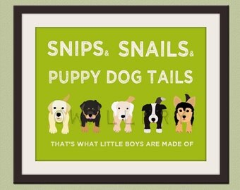 Nursery art print. Boys nursery wall art Puppy dog Thats what little boys are made of Kids wall art baby nursery decor print by WallFry