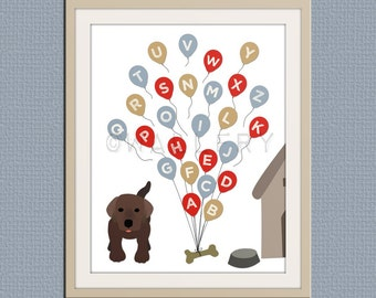 ABC Alphabet nursery art. Puppy dog nursery print. Balloon alphabet poster for kids. Children decor, children art, art print by WallFry