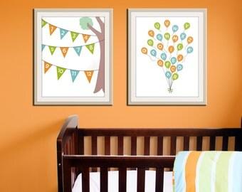 Nursery alphabet poster. ABC 123 balloon & bunting prints. Numbers and alphabet prints. Custom nursery decor SET OF 2 prints by Wallfry
