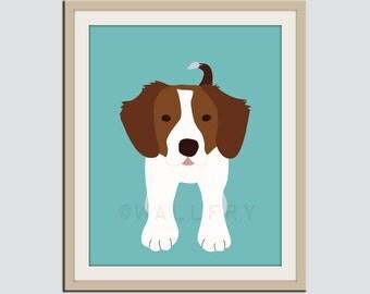 Brittany Spaniel dog print. Puppy nursery artwork for baby & kids room decor theme. Custom colors. Dog Series print by WallFry