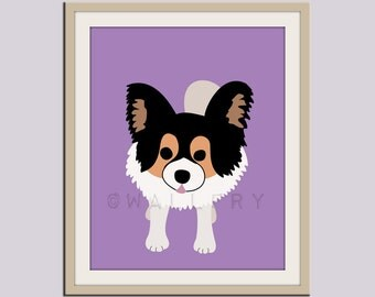 Papillon dog print. Puppy nursery artwork for baby & kids room decor theme. Custom colors, Dog Series print by WallFry