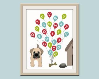 ABC Alphabet nursery art. Puppy dog nursery print. Balloon alphabet poster for kids. Children decor, children art, print by WallFry