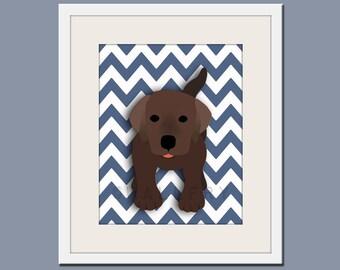 Dog art print, chevron baby nursery art for children. Kids puppy dog wall art. Chocolate Labrador print by WallFry