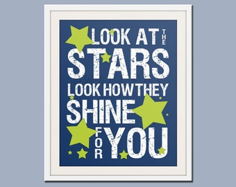 Nursery decor, baby nursery art. Nursery wall quote, inspirational typography print. Song lyrics look at the stars. Art print by Wallfry
