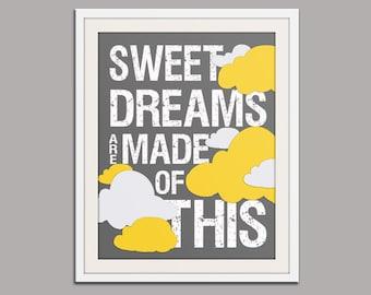 Baby nursery decor. Sweet Dreams print nursery art print. Kids room decor. Inspirational wall art. Song lyric. Art print by WallFry