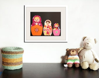 Baby girl nursery decor. Russian doll print, matryoshka art print. Babuska wall art. Personalized 8x10 print by WallFry