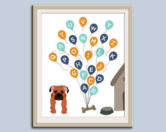 ABC Alphabet nursery art. Puppy dog nursery print. Balloon alphabet poster for kids. Children decor, children art, Dog print by WallFry