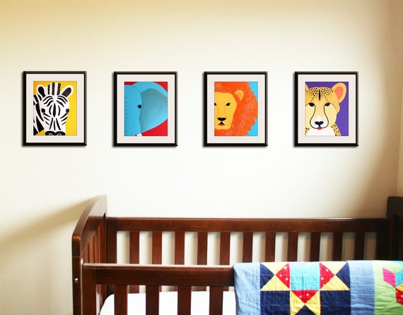 Safari nursery art. Jungle nursery wall art. SET of ANY 4animal nursery artwork. Kids art, childrens art, jungle baby nursery decor