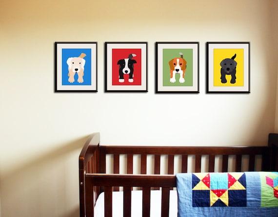 Dog Prints for kids. Nursery art for children art. Kids wall art, Puppy dog art. Baby nursery wall art. Any 4 art prints by WallFry