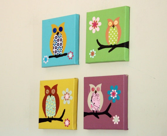 Owl art for children paintings for baby nursery decor. 4 owls pictures ...