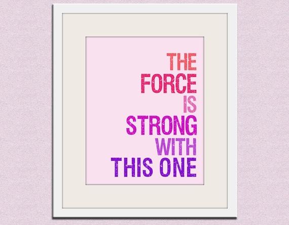 Star Wars typography art print baby nursery art print. Art for kids, children art, nursery wall art, The Force is Strong Wallfry print