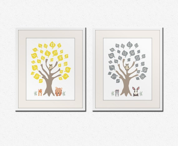 Baby nursery art print. ABC nursery decor. Alphabet print, woodland owl art print with numbers, Childrens art by WallFry. SET OF 2 prints